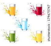 5 glasses with different drinks | Shutterstock .eps vector #179675747