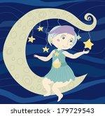 girl sitting on moon   raster... | Shutterstock . vector #179729543