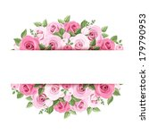 Stock vector background with pink roses vector eps 179790953