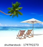 deck chairs on tropical beach... | Shutterstock . vector #179792273