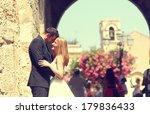 bride and groom hugging in the... | Shutterstock . vector #179836433