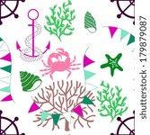 seamless patterns of marine... | Shutterstock .eps vector #179879087