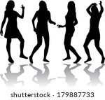 silhouettes of sexy beautiful... | Shutterstock .eps vector #179887733