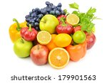 useful set of fruits and... | Shutterstock . vector #179901563