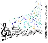 various music notes on stave ... | Shutterstock .eps vector #179912087