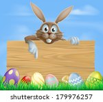 wooden sign easter bunny and...