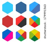 9 blank rounded hexagon icon...
