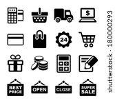 shopping icons set | Shutterstock . vector #180000293