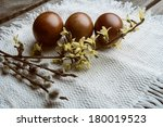 composition with easter eggs. | Shutterstock . vector #180019523