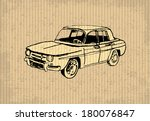 Old-timer - Renault 8 Gordini 1964, illustration on a cartboard - stock vector