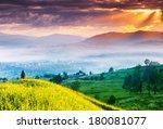 fantastic morning mountain... | Shutterstock . vector #180081077