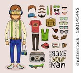 sketch male hipster set with... | Shutterstock . vector #180145493