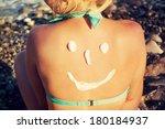 sunscreen on the body | Shutterstock . vector #180184937