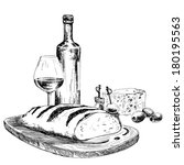 wine  bread and blue cheese....