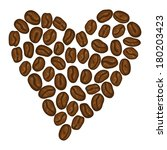 heart shape coffee beans on... | Shutterstock .eps vector #180203423