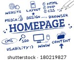 homepage concept. keywords with ... | Shutterstock .eps vector #180219827