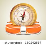 red lifebelt with compass | Shutterstock .eps vector #180242597