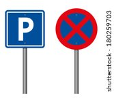 parking and no parking sings | Shutterstock .eps vector #180259703