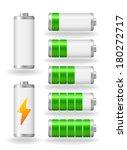 seven glossy battery fullness...   Shutterstock . vector #180272717