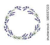 watercolor lavender wreath.... | Shutterstock . vector #180337223
