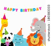 birthday animals card   Shutterstock .eps vector #180383333