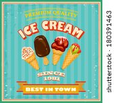vintage ice cream poster.... | Shutterstock .eps vector #180391463