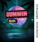summer disco background. disco ... | Shutterstock .eps vector #180391613