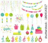 birthday and party set   for... | Shutterstock .eps vector #180414317