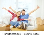 moving  home and couple concept ...   Shutterstock . vector #180417353