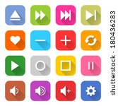 16 media icon set 06  white... | Shutterstock .eps vector #180436283