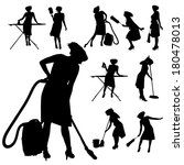 vector silhouette of a cleaning ...