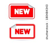 red stickers   labels with new... | Shutterstock . vector #180484343