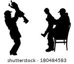 vector silhouette of family on... | Shutterstock .eps vector #180484583