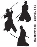 Samurai Silhouettes, Japanese Samurai martial arts masters with the katana sword and Naginata