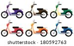 Illustration of the colorful scooters on a white background - stock vector