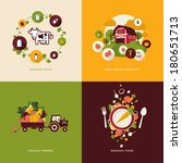 Set of flat design concept icons for organic food and drink. Icons for organic milk, farm fresh products, locally grown and organic food.