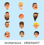 faces icon set  flat design ... | Shutterstock . vector #180656657