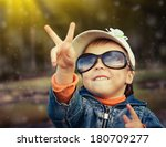 little girl on the nature... | Shutterstock . vector #180709277