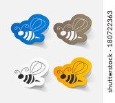 realistic paper sticker  bee.... | Shutterstock .eps vector #180722363