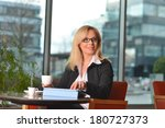 attractive middle aged blond... | Shutterstock . vector #180727373