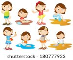 illustration of a young girl's... | Shutterstock .eps vector #180777923