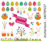 set of easter flat elements.  | Shutterstock . vector #180789227