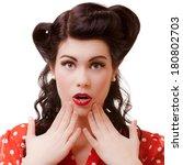 portrait of surprised shocked... | Shutterstock . vector #180802703