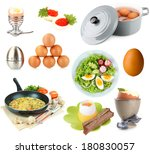 collage of eggs isolated on... | Shutterstock . vector #180830057