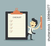 businessman checklist  | Shutterstock .eps vector #180846377