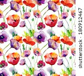 stylized tulips and poppy... | Shutterstock . vector #180912467
