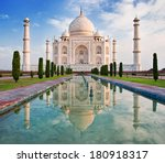 beautiful taj mahal in sunrise... | Shutterstock . vector #180918317