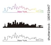 new york skyline linear style... | Shutterstock .eps vector #180923447