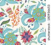 blue flowers doodle seamless... | Shutterstock .eps vector #180936653