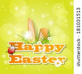 words happy easter with fresh... | Shutterstock .eps vector #181031513